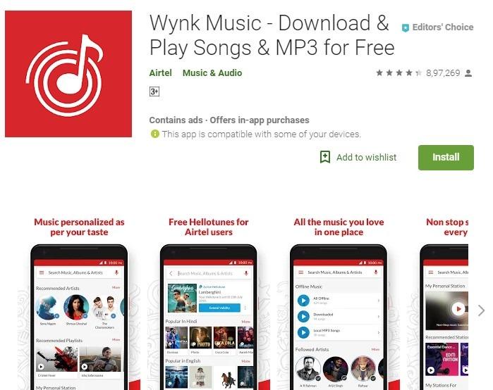 Airtel hello Tunes wynk app